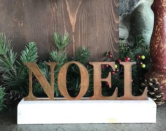 NOEL sign,Christmas decor, Word Decor,  Rustic Holiday Decor, Farmhouse Sign, Rustic Metal Sign, Fixer Upper Style, Farmhouse Mantle Decor