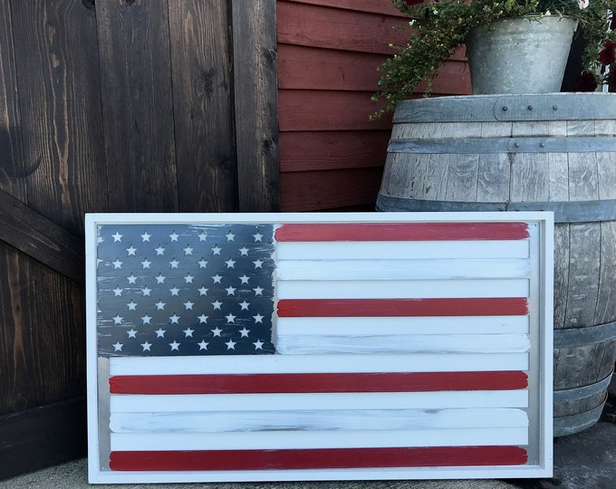 Farmhouse Wood Flag, USA Flag, American Flag Sign, Wood Flag Decor, Farmhouse decor, Office Flag, Large Metal Wall Flag, Large Flag