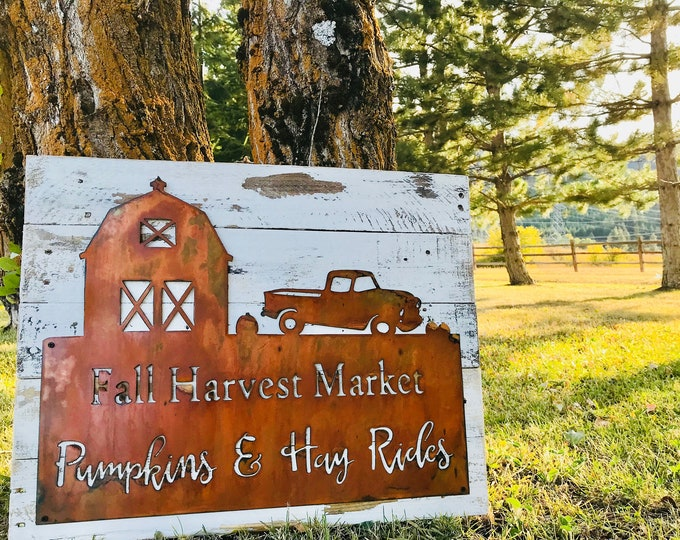 Harvest Sign,Fall Decor, Barn Decor, Market Sign, Pumpkin Sign, Farmhouse Autumn decor, Old truck, hay rides, Metal and Wood sign