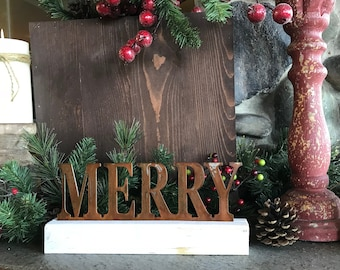 MERRY sign |Christmas decor | Word Decor |  Rustic Holiday Decor | Farmhouse Sign | Rustic Metal Sign | Fixer Upper Style | Mantle Decor
