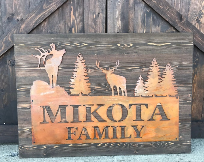 Rustic Custom Metal Address Sign |Barn Sign | Elk |Family Name | Driveway Property Name | House Numbers | Cabin or Ranch sign | Woodland