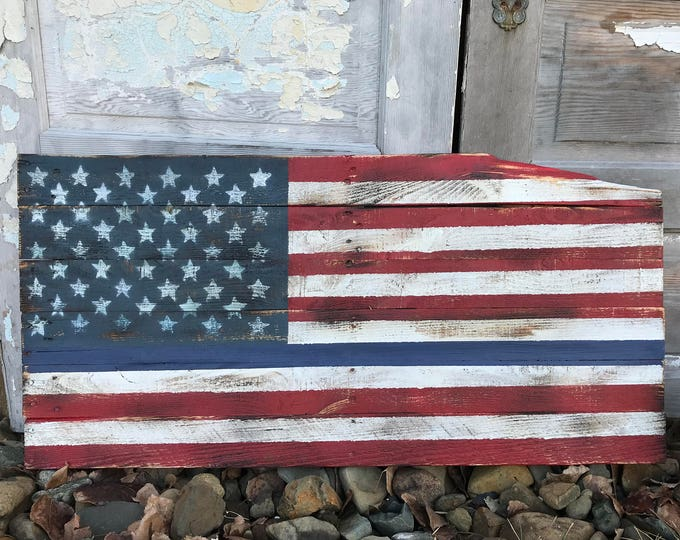 Rustic Wood Blue Line American Flag, Wood Flag,  Pallet Flag, Rustic Wall Decor, Farmhouse decor, Rustic Flag, Garden, Porch Flag, Police