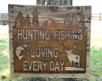 Metal Hunting and Fishing Sign, Hunting Fishing Decor, Woodland Decor, Cabin Sign, Elk, Bass, Buck, Hunting Sign, Fishing Sign, Boy Nursery