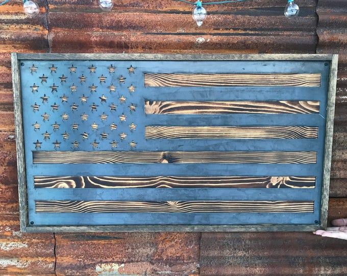 Rustic Metal Wood Flag, USA Flag, American Flag Sign, Wood Flag Decor, Farmhouse decor, Office Flag, Gunmetal Flag, Large Metal Wall Flag