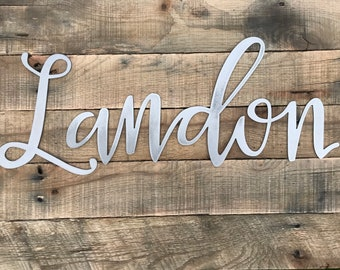 Metal Name sign, Personalized name sign, Farmhouse style, Rustic Signs, Rustic Metal Decor, Large Custom Word, Baby Name Sign, Nursery Decor
