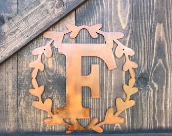 "14"" Metal Letters with wreath, Large metal Monograms, Rustic Letters, Family initial, Farmhouse Fixer Upper Style, Wedding or Home Decor"
