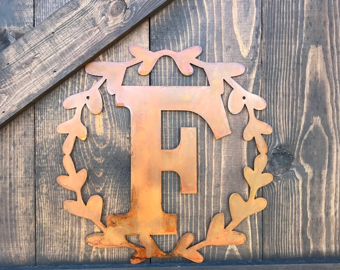 """14"""" Metal Letters with wreath, Large metal Monograms, Rustic Letters, Family initial, Farmhouse Fixer Upper Style, Wedding or Home Decor"""