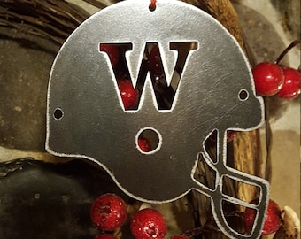 Huskies Helmet Christmas Ornament | Metal UW ornament | Metal U of W Helmet | Christmas Decor | Sport team Ornaments | Football helmet