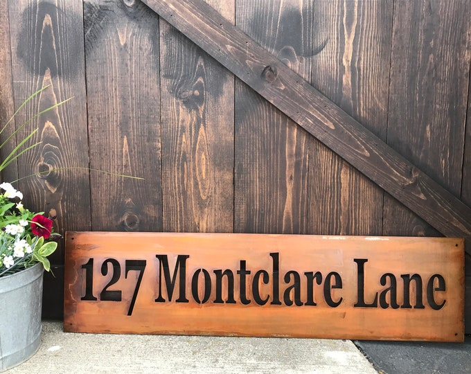 Rustic Custom Metal Name Sign, Address, Welcome, Driveway, House Numbers, Family Name, Country Style, Street sign,