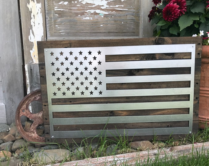 Rustic Metal American Flag, USA Flag, Rustic Flag Sign, Rustic Wall Decor, Farmhouse decor, Garden, Porch Flag, Gunmetal Flag, Metal Flag