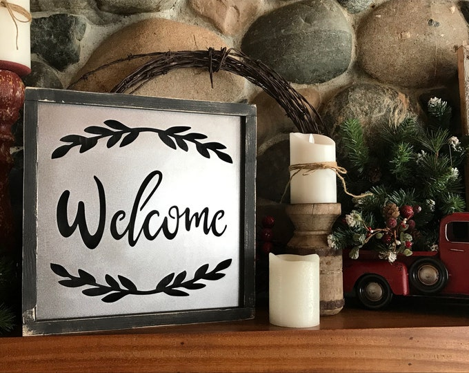 Welcome | Welcome Sign | Rustic Home Decor | Farmhouse Sign | Wood Signs | Metal LED light Signs | Entryway Sign | Rustic Welcome Sign