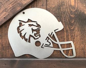 CWU Football Decor signs, Central Washington University Sport team, Metal football signs, Football Helmet Decor, Mancave decor, Sports