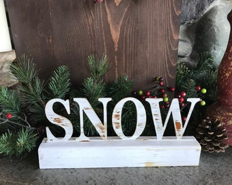 SNOW sign |Christmas decor | Word Decor |  Rustic Holiday Decor | Farmhouse Sign | Rustic Metal Sign | Fixer Upper Style | Mantle Decor
