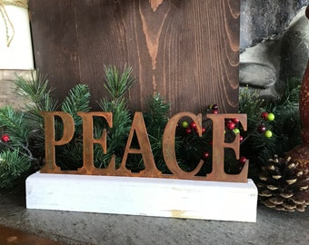 PEACE sign | Christmas decor | Word Decor |  Rustic Holiday Decor | Farmhouse Sign | Rustic Metal Sign | Fixer Upper Style | Mantle Decor