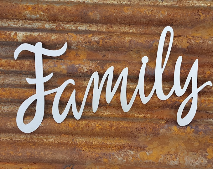 Family, Word Signs, Metal Word Signs, Farmhouse Decor, Fixer Upper Style, Rustic Decor, Farmhouse Signs, Metal Signs, Country, Shabby chic