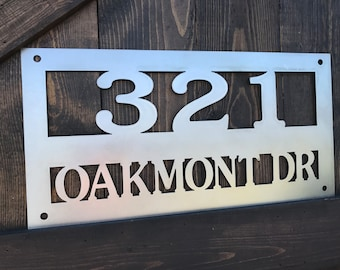 Rustic Custom Metal Address sign, Welcome, Driveway, House Numbers, Family Name, Country Style, Street sign