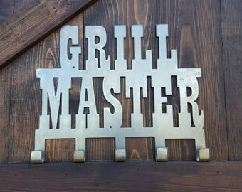 Grill Master Sign | BBQ Sign | Rustic Metal BBQ Kitchen Rack | Man-cave Wall Art | BBQ Tool hanger | Fathers Day Gift | Gift for Dad