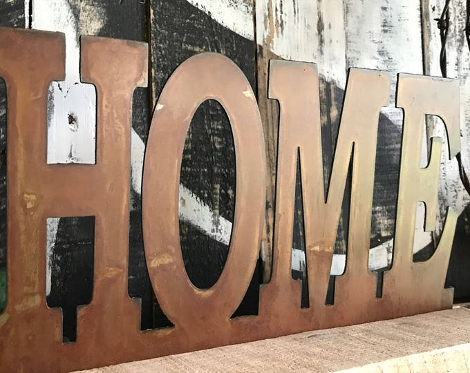 HOME, Metal Home sign, Farmhouse Home sign, Sign on wood stand, Farmhouse style, Fixxer Upper style, Table top sign, Rustic Decor, Rusted si