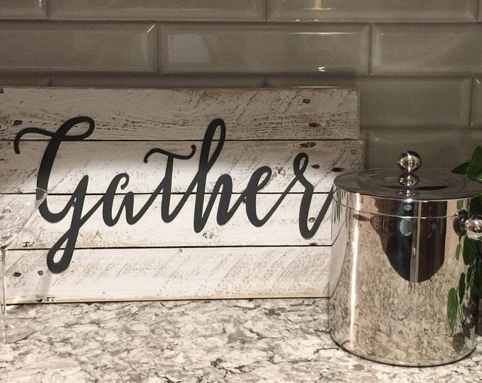 Gather, Word Signs, GRAY Metal Word Signs, Farmhouse Decor, Rustic Sign, Fixer Upper Style, Rustic Decor, Country Sign, Shabby chic art
