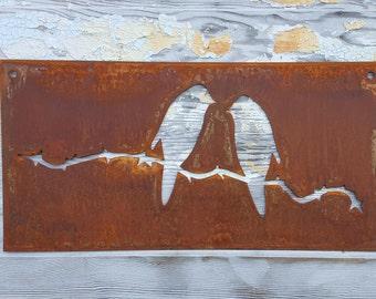 Bird Sign | Garden Decor | Cabin | Farmhouse Decor | Rustic signs | Rusted Metal Decor | Rustic Home Decor | Spring | Gifts | Easter decor