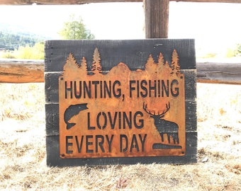 Metal Hunting and Fishing Sign | Hunting Fishing Decor | Woodland Decor | Cabin Sign | Elk | Bass | Buck | Hunting Sign | Boy Nursery