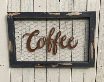 Chicken wire sign, Coffee Bar Sign, Metal Coffee Sign, Farmhouse Decor, Farmhouse Signs, Fixer Upper Style, Rustic Home Decor, Kitchen Decor