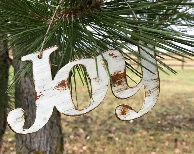 JOY Christmas Ornament | Rustic Metal Christmas Decor | Rustic Holiday Ornaments | Tree decor | Christmas tree |Farmhouse Decor