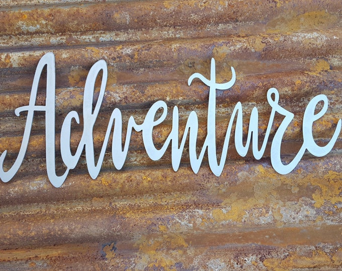 Adventure | Word Signs | Metal Word Signs | Farmhouse Decor | Rustic Signs | Rustic Metal Signs | Rustic Decor | Farmhouse Sign | Metal Sign