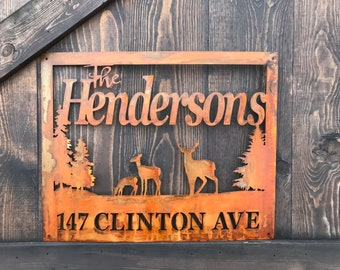 Rustic Custom Metal Address Sign | Deer |Family Name | Driveway Property Name | House Numbers | Cabin -Ranch sign | Buck Home decor