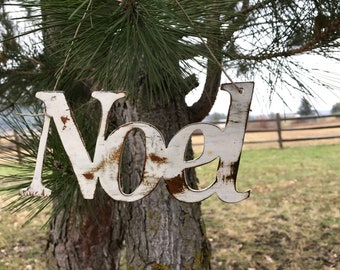 NOEL Christmas Ornament | Rustic Metal Christmas Decor | Rustic Holiday Ornaments | Tree decor | Christmas tree |Farmhouse Decor