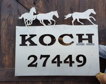 Rustic Custom Metal Address Sign |Barn Sign | Horses |Family Name | Driveway Property Name | House Numbers | Cabin or Ranch sign | Farm
