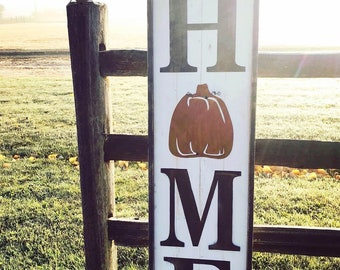 Large HOME sign with pumpkin | Fall Harvest Decor | Farmhouse decor | Pumpkin decor | Rustic sign | Porch decor sign | Wood Sign