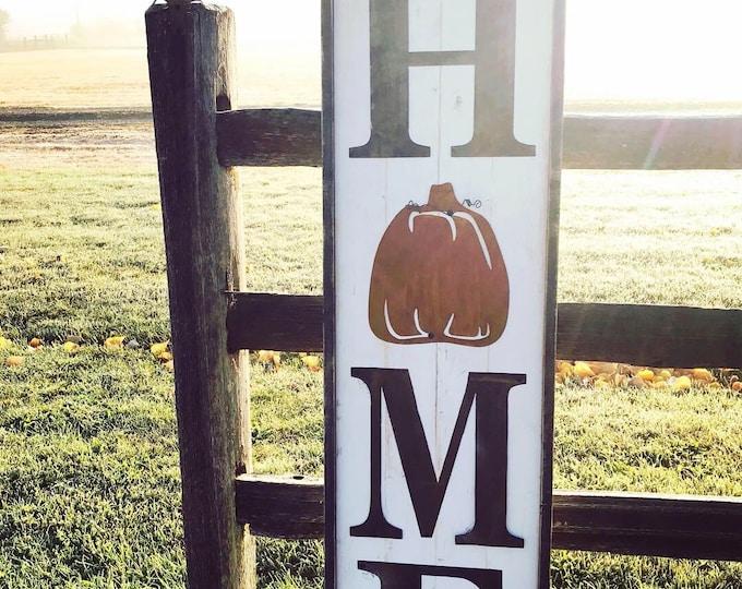 Large HOME sign with pumpkin | Fall Harvest Decor | Farmhouse decor | Pumpkin decor | Rustic sign | Porch decor sign | Wood Sign