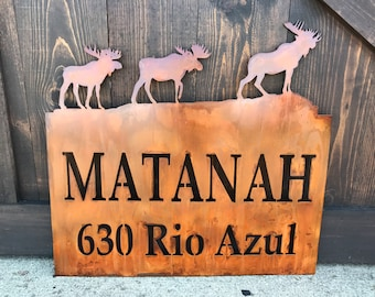 Rustic Custom Metal Address Sign |Barn Sign | Moose |Family Name | Driveway Property Name | House Numbers | Cabin or Ranch sign