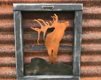 Rustic wildlife wood Sign, Mountain decor, Elk Decor, Rustic Decor, Farmhouse Decor, Hunting decor, Rustic Home Decor, Cabin Decor, Trees