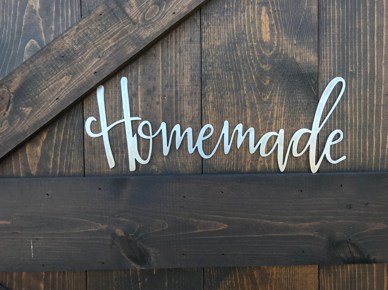 Homemade Metal Word Art Rustic Decor Calligraphy Sign