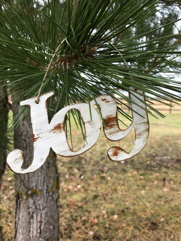 Joy Christmas Ornament Rustic Metal Christmas Decor Rustic