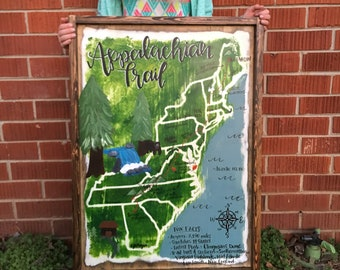 "Appalachian Trail Map - Hiking Trail Map - Whimsical Hand Painted Map - 24"" x 18"""