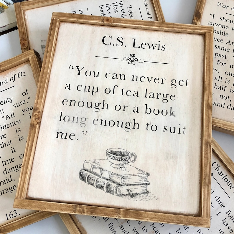Book Page Decor Lewis Quote 16.5 x 13.5 Tea and Books C.S Framed Wood Sign Wall Art