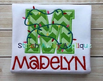Embroidered Initial Christmas Shirt