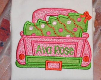 Embroidered Girls Christmas Tree truck