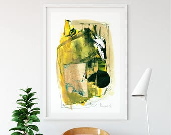 Large Abstract, Minimalistic Painting, Yellow Art, Printable Art, Large Art Prints, A0 print, A1 Art, Yellow Abstract Art, Yellow and green