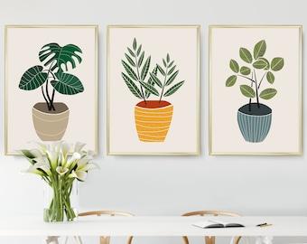 Set of 3 Prints, Printable Wall Art, Botanical Print Set, Scandinavian Modern, Modern Minimal Art, Botanical Wall Art, Kitchen Art Print set