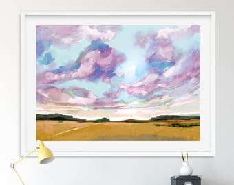 Large Landscape Painting, 24x36 art, Pink and Blue Print, Large Abstract Painting, Printable Art, Big art, Landscape Print, Large Modern Art