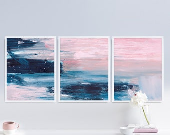 Set of 3 Prints, Abstract Art Print Set, 3 Abstract Prints, Pink and Blue art, Printable Abstract, instant download, Blush Pink 16x20 Prints