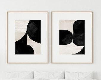 Abstract Art Print Set, 2 Black & White Abstract Art, Printable Abstract, instant download, Dan Hobday Art. Minimal art Prints, 24x36