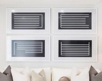 Set of 4 Prints, Neutral Art Print Set, 2 Abstract Prints, Minimal Wall Art, Black and White Art, instant download, Modern Art, Dan Hobday