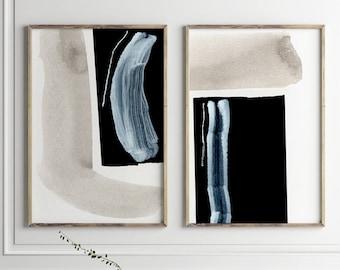 Abstract Art Print Set, 2 Black & Blue Abstract Art, Printable Abstract, instant download, Dan Hobday Art. Minimal art Prints, 24x36