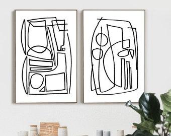 Large Abstract, Set of 2 prints, Minimalistic Painting, Printable Art, Large Art Prints, 24x36 Black White art, white tones, Dan Hobday