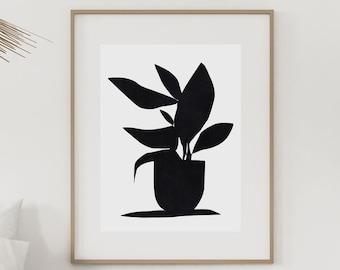 Large Abstract, Botanical Art, Printable Art, Large Art Prints, 24x36 Black and white art, Plant Print, Plant Prints, Dan Hobday Art Prints